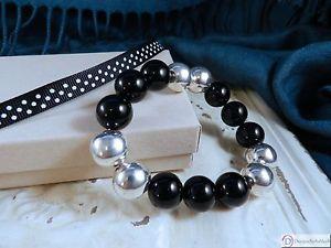 【送料無料】ブレスレット アクセサリ― オニキススターリングシルバーストレッチブレスレットonyx and sterling silver stretch bracelet