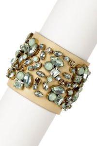 【送料無料】ブレスレット アクセサリ― ジョンソンミントクリスタルブレスレットbetsey johnson mint crystal gem wide leather bracelet