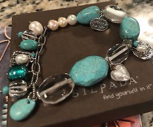 【送料無料】ブレスレット アクセサリ― スターリングシルバーライフブレスレットターコイズガールフレンドsilpada sterling silver turquoise pearl girlfriends for life conference bracelet