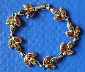 【送料無料】ブレスレット アクセサリ― オレンジシルバーブレスレットbeautiful silver bracelet with amber 24