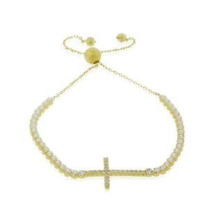 【送料無料】ブレスレット アクセサリ― 925 スターリングホワイトczチェーンブレスレット9925 sterling silver white cz cross adjustable chain bracelet, 9