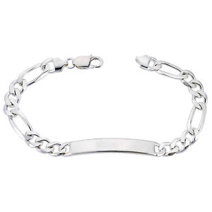 【送料無料】ブレスレット アクセサリ― スターリングシルバーフィガロリンクブレスレットイタリア8mm sterling silver figaro link id 79 bracelet, free engraving, made in italy
