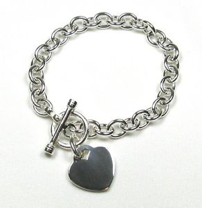 【送料無料】ブレスレット アクセサリ― トグルリンクスターリングブレスレット85heart charm toggle link solid sterling silver bracelet 85