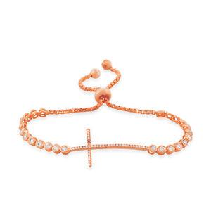 【送料無料】ブレスレット アクセサリ― スターリングシルバーバララテンクロスチェーンブレスレットsterling silver rose goldtone crystals religious latin cross chain bracelet