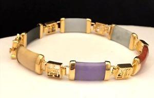【送料無料】ブレスレット アクセサリ― マルチカラーブレスレットゴールドトーンホームショッピングネットワークdyed multi colored jade bracelet gold tone home shopping network hsn 2p