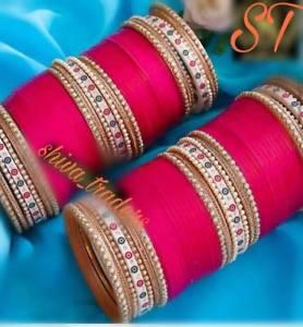【送料無料】ブレスレット アクセサリ― ピンクパンジャブファッションpink punjabi fashion chuda bridal kundan chooda wedding choora dulhan chura