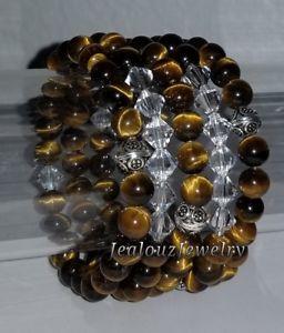 【送料無料】ブレスレット アクセサリ― スターリングシルバーブラウンタイガーアイヒーリングヨガアームキャンディブレスレット925 sterling silver brown tiger eye healing gemstone yoga arm candy bracelet set