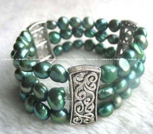 【送料無料】ブレスレット アクセサリ― 3rowsバロック75gif3rows freshwater pearl green baroque bracelet 75 whole nature amazing gif