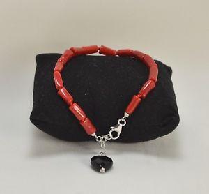 【送料無料】ブレスレット アクセサリ― シルバーブレスレットオニキスハートコーラルレッドシリンダーsilver bracelet onyx heart and coral red cylindersagrp 0107