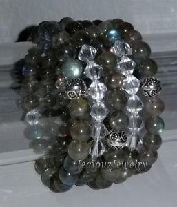 【送料無料】ブレスレット アクセサリ― スターリングシルバーヨガアームキャンディブレスレット925 sterling silver a labradorite healing gemstone yoga arm candy bracelet set