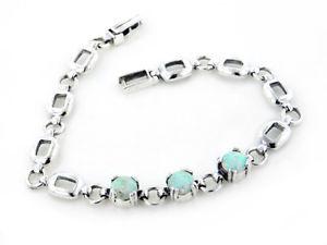 【送料無料】ブレスレット アクセサリ― スターリングシルバーホワイトオパールリンクブレスレットsterling silver 3stone created white opal link bracelet 7