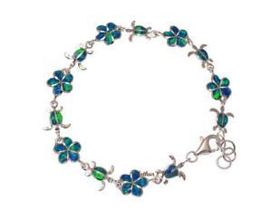 【送料無料】ブレスレット アクセサリ― オパールシルバーハワイアンプルメリアウミガメリンクブレスレットinlay opal silver 925 hawaiian plumeria flower honu sea turtle link bracelet 7