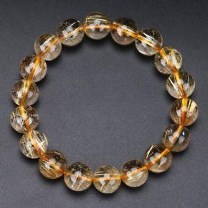 【送料無料】ブレスレット アクセサリ― ゴールドチタンルチルクリスタルビーズブレスレット118mm natural gold titanium rutilated quartz crystal beads bracelet gra002