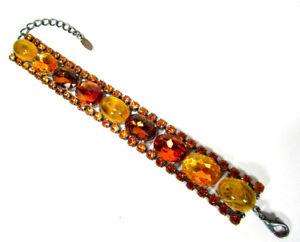 【送料無料】ブレスレット アクセサリ― ブレスレットビンテージボヘミアガラスラインストーンクリスタルトパーズブラウンsoho bracelet true vintage 1960s bohemia glass amp; rhinestone crystal topaz brown