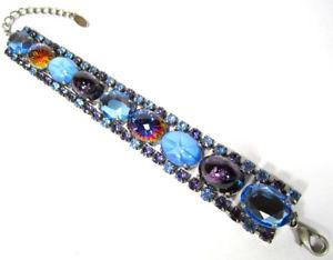 【送料無料】ブレスレット アクセサリ― ブレスレットビンテージボヘミアガラスラインストーンsoho bracelet true vintage bohemia glass crystals rhinestone blue purple rhinestones