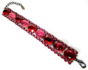 【送料無料】ブレスレット アクセサリ― ブレスレットビンテージボヘミアガラスクリスタルラインストーンピンクsoho bracelet true vintage bohemia glass amp; crystal rhinestone oval pink bordaux