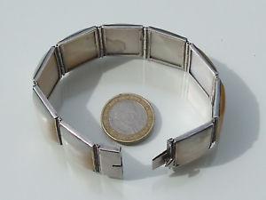 【送料無料】ブレスレット アクセサリ― パールシルバーブレスレットbeautiful bracelet old mother of pearl and silver2,5cm x 18,5cm51,2gr weight
