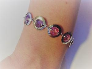 【送料無料】ブレスレット アクセサリ― シルバーピンクパープルブレスレットドルamellee clarisse * ssilver pink and purple cz set bracelet rrp 160