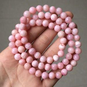 【送料無料】ブレスレット アクセサリ― ピンクパウダーオパールクリスタルラウンドビーズブレスレットクリア8mm genuine natural pink powder opal crystal round clear beads bracelet aaa