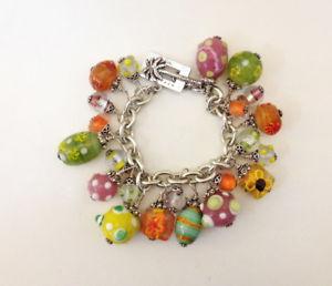 【送料無料】ブレスレット アクセサリ― ピューリッツァービンテージスターリングシルバーガラスビードブレスレットlilly pulitzer vintage sterling silver dangle glass bead bracelet