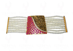 【送料無料】ブレスレット アクセサリ― パールルビージルコンファッションジュエリーブレスレットpearl, ruby amp; zircon studded fashion jewelry bracelet fb1227
