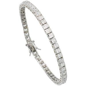 【送料無料】ブレスレット アクセサリ― スターリングシルバープリンセスストーンテニスカットブレスレットsterling silver 9 ct princess cut cz stone tennis bracelet