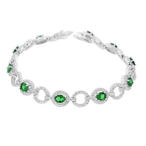 【送料無料】ブレスレット アクセサリ― スターリングシルバークラシックテニスブレスレットsterling silver white green emeraldtone crystals cz classic tennis bracelet