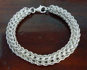 【送料無料】ブレスレット アクセサリ― ビザンチンチェーンブレスレットスターリングシルバー 9 mm width byzantine chainmail bracelet 925 sterling silver woven 6 10