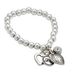 【送料無料】ブレスレット アクセサリ― ビビシルバービーズクリスタルハートチャームブレスレットbibi bijoux silver beaded crystal and heart charm bracelet