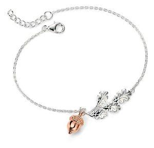 【送料無料】ブレスレット アクセサリ― デザイナスターリングシルバーリーフローズゴールドメッキブレスレットdesigner elements sterling silver leaf amp; rose gold plated acorn bracelet