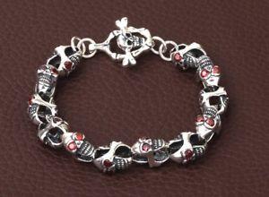 【送料無料】ブレスレット アクセサリ― スターリングシルバースカルバイカーレトロブレスレット925 sterling silver skull biker retro bracelet jewelry s945