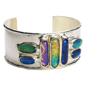 【送料無料】ブレスレット アクセサリ― ダイクロガラスジュエルカフブレスレットハンドメイドwomens opalescent dichroic glass jewels cuff bracelet silverplated handmade