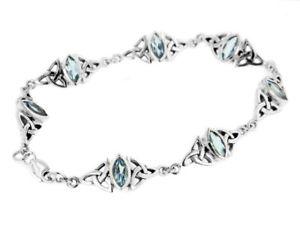 【送料無料】ブレスレット アクセサリ― argentoスターリングtopazio blu celticonodo braccialeargento sterling topazio blu celtico trinity nodo bracciale