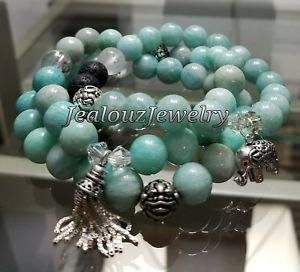【送料無料】ブレスレット アクセサリ― スターリングトルコアマゾナイトヨガマラブレスレットsterling silver elephant tassel turquoise amazonite gemstone yoga mala bracelet