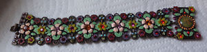 【送料無料】ブレスレット アクセサリ― エナメルラインストーンブレスレットmx signed enamel rhinestone flower floral cherubs angels bracelet