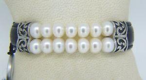 【送料無料】ブレスレット アクセサリ― アルジェントダブルクリックブレスレット listinghonora ster argent cuir amp; double range de culture perle deau frache bracelet
