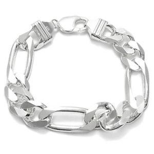 【送料無料】ブレスレット アクセサリ― スターリングシルバーメンズフィガロチェーンブレスレットゲージ925 sterling silver mens figaro link chain bracelet 13mm 350 gauge