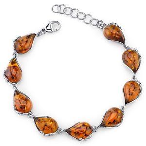 【送料無料】ブレスレット アクセサリ― バルトブレスレットスターリングコニャックピッグボードbaltic amber bracelet sterling silver cognac color tear drop shape