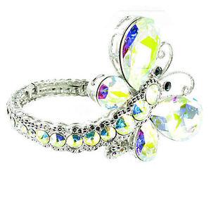 【送料無料】ブレスレット アクセサリ― ブレスレットクリスタルクリアclear crystal on silver plated amazing butterfly bracelet
