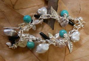 【送料無料】ブレスレット アクセサリ― パールターコイズブレスレットジュエリーpearl, agate amp; turquoise bracelet fine sterling silver jewelry free shipping