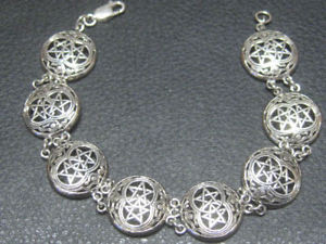 【送料無料】ブレスレット アクセサリ― ダブルピーターストーンブレスレットスターリングシルバーリンクdouble linked 8 pentagram bracelet 925 sterling silver by peter stone