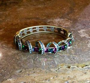 【送料無料】ブレスレット アクセサリ― ハイジリボンスワロフスキークリスタルヒンジブレスレットゴージャスheidi daus ribbon swirled swarovski crystal hinged bracelet rare amp; gorgeous