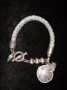 【送料無料】ブレスレット アクセサリ― イギリスグレーレザーブレスレットスターリングシルバーアクセントgem kingdom grey leather bracelet with sterling silver accents and charms