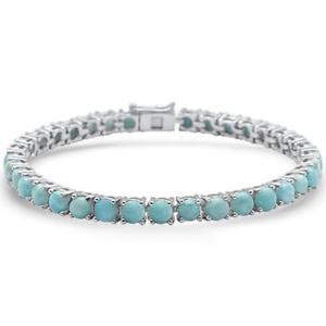 【送料無料】ブレスレット アクセサリ― ラウンドスターリングシルバーブレスレット145ct 4 prong natural round larimar 925 sterling silver bracelet