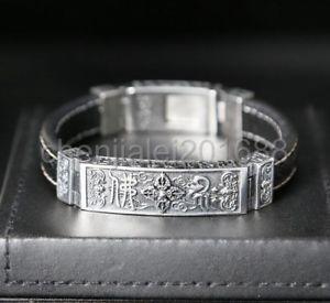 【送料無料】ブレスレット アクセサリ― スターリングシルバーベルトバイカーパンクブレスレット925 sterling silver leather belt men biker punk bracelet