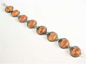 【送料無料】ブレスレット アクセサリ― アンティークブレスレットアルジェントアンブルantique bracelet argent vritable avec ambre, 19,1 cm