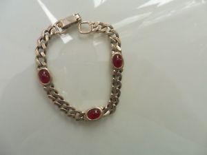 【送料無料】ブレスレット アクセサリ― アンティークブレスレットチェーンブレスレットnice, antique bracelet__925 silver __ with red jade __ curb chain bracelet ___