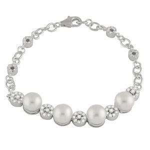 【送料無料】ブレスレット アクセサリ― ファンシースターリングホワイトシルバーブレスレットfancy sterling silver bracelet with white freshwater pearls and cz bsr31