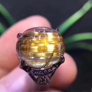 【送料無料】ブレスレット アクセサリ― ×ルチルチタンリング125*105mm natural gold rutilated titanium quartz crystal ring aaaa