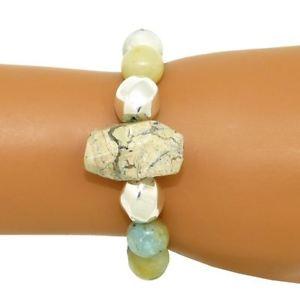 【送料無料】ブレスレット アクセサリ― サイモンスターリングシルバーストレッチビーズブレスレットsimon sebbag sterling silver 925 stretch amazonite 2 bead bracelet b146amz